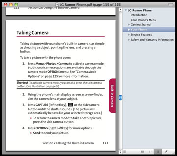 Screen shot of a cell phone manual