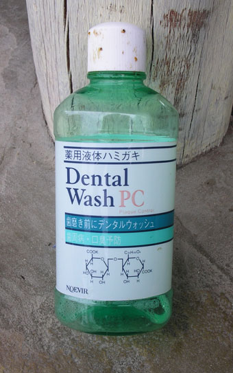 Japanese mouthwash on a beach in Kenya