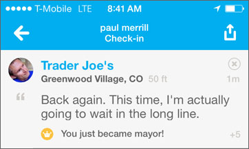 trander joe's foursquare checkin screen shot
