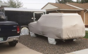 a totally covered Toyota Land Cruiser