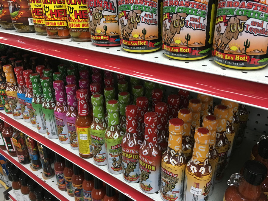Hot sauce at a truck stop in Texas