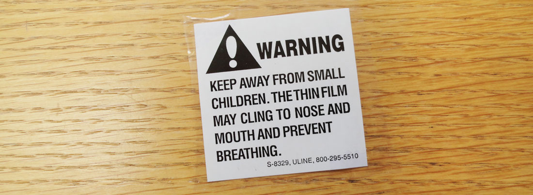 warning label from CD package