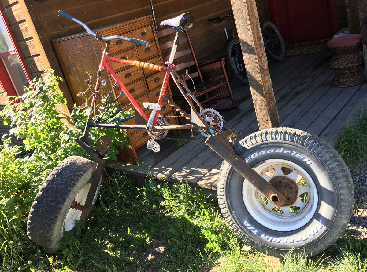 crazy mountain bike with car wheels