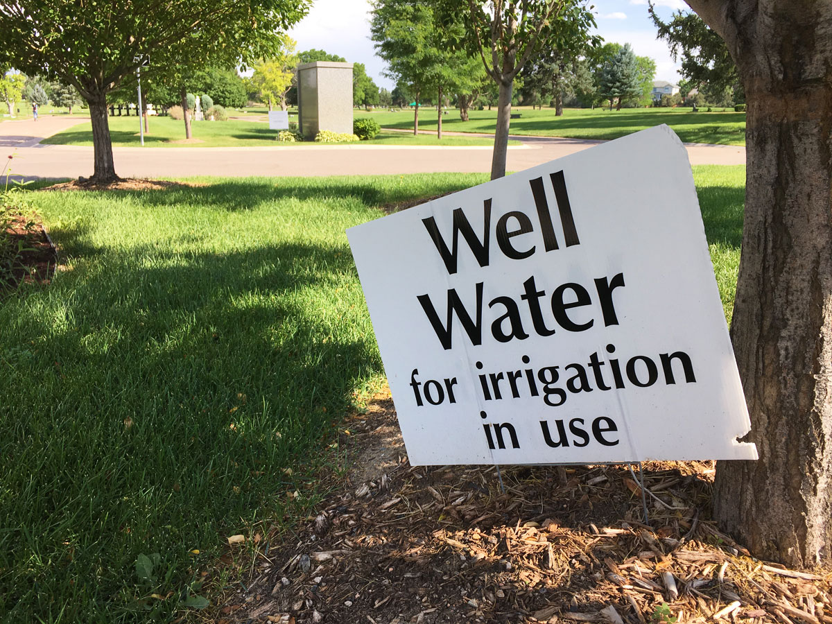 Sign describing well water is used for irrigation