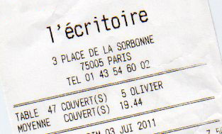 French restaurant receipt