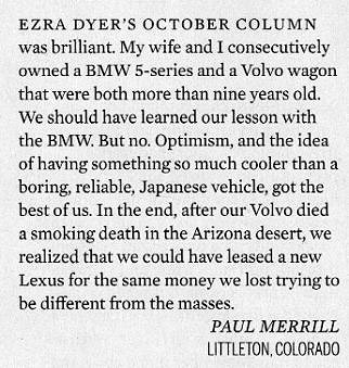 Letter to Automobile magazine