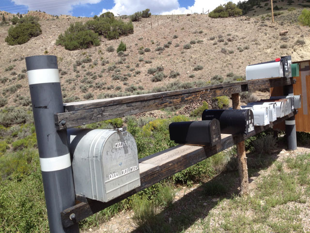 Old mailboxes in rural Colorado