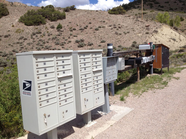 Old and new mailboxes in rural Colorado