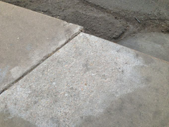 A fixed crack in the sidewalk