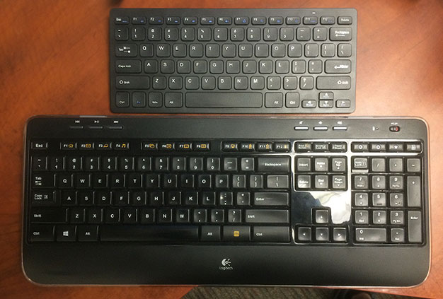 two wireless external keyboards