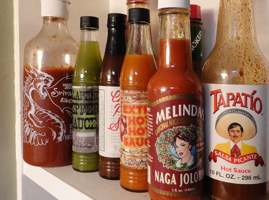 My shelf of hot sauces