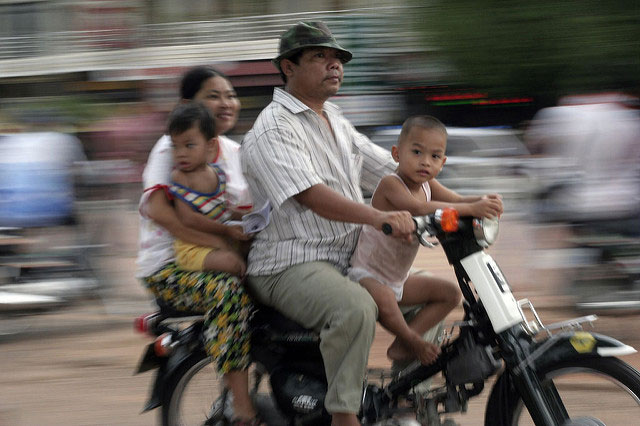 motorbike riders in Phnom Penh