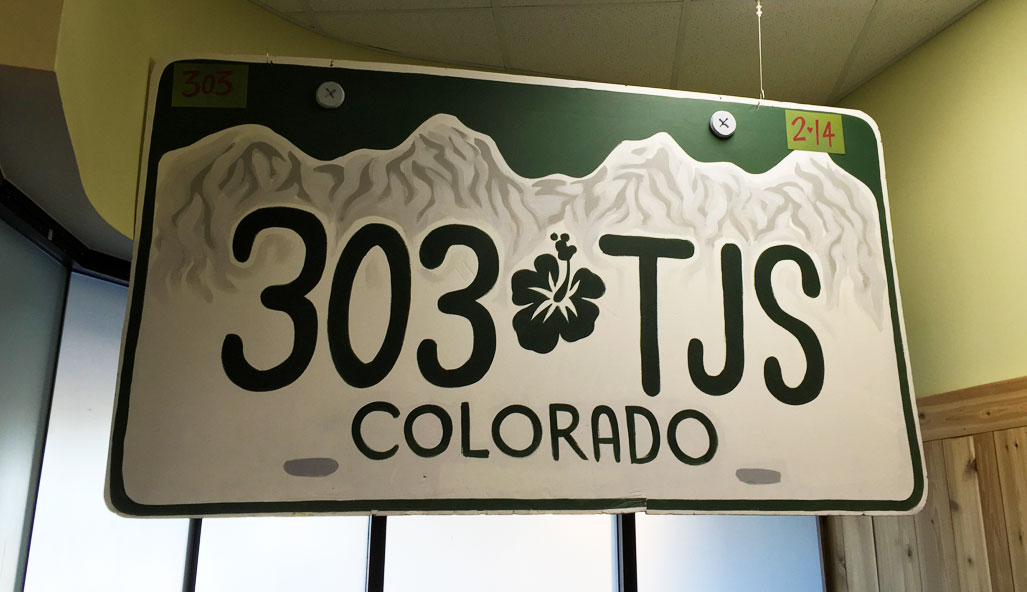 303-TJS license plate - huge, hanging from the store celiing