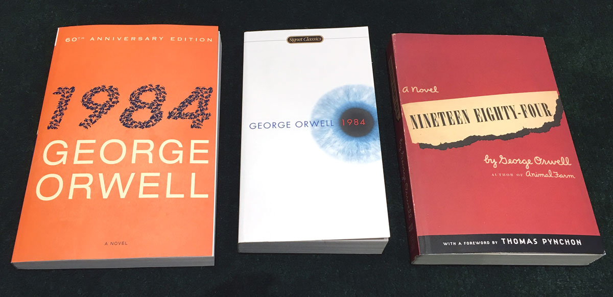 three book cover designs for Nineteen Eighty-Four
