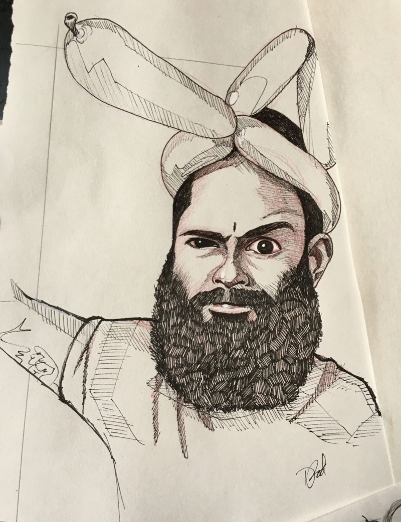 drawing of hipster balloon man