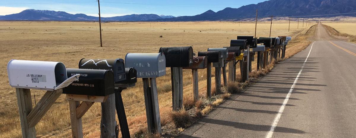 mailboxes in rural Colorado