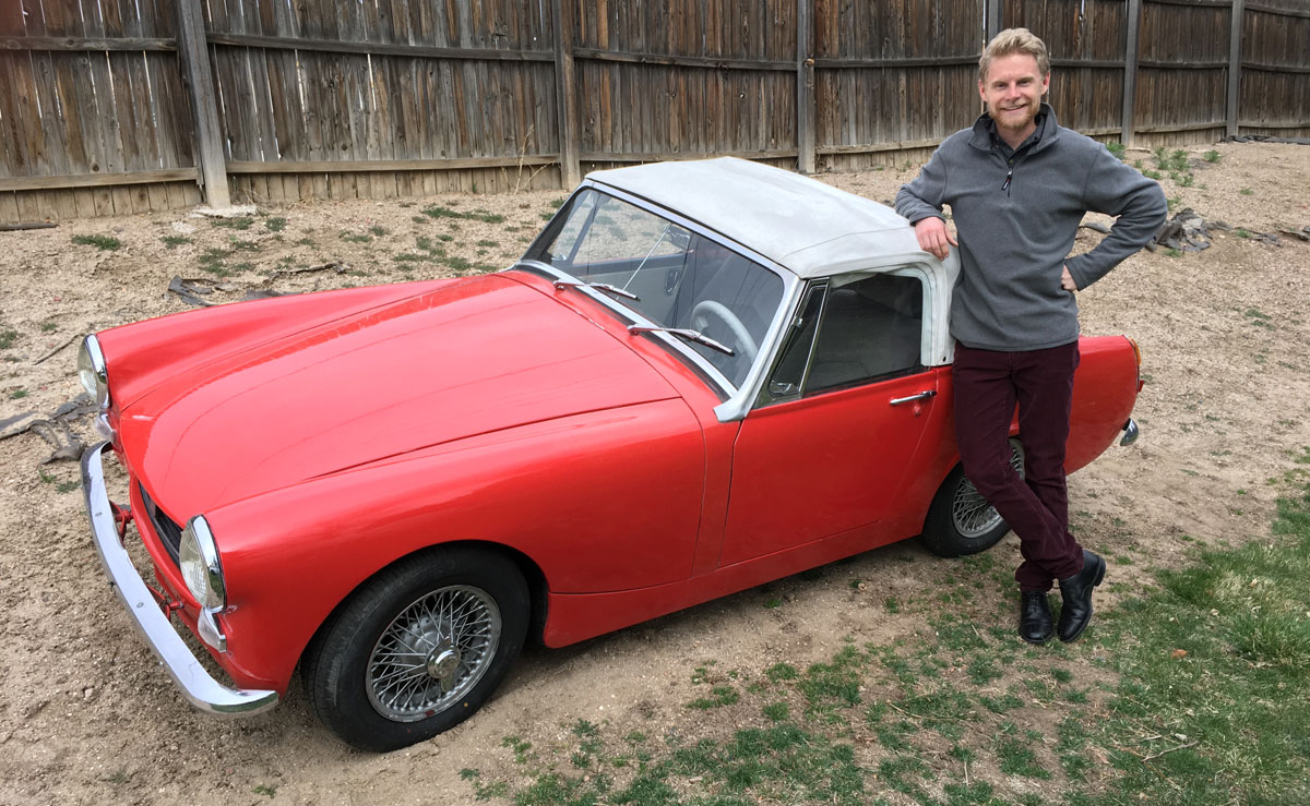 Jay next to an MG Midget