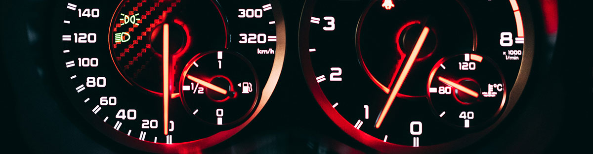 Gauges on the dashboard of a car