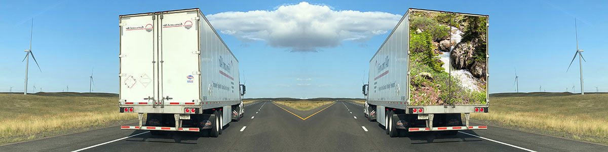 a trailer with an empty back door vs. a trailer with a beautiful photo on the back door